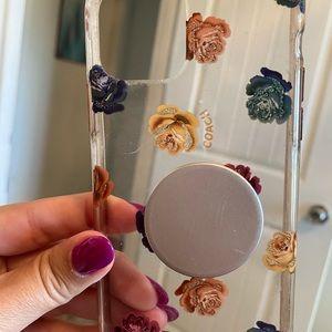 Used Coach iPhone 11 Pro case  plus popsocket